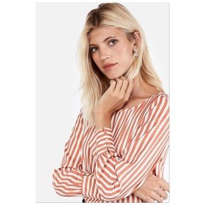 Express Orange Striped Button-Cuff Blouse